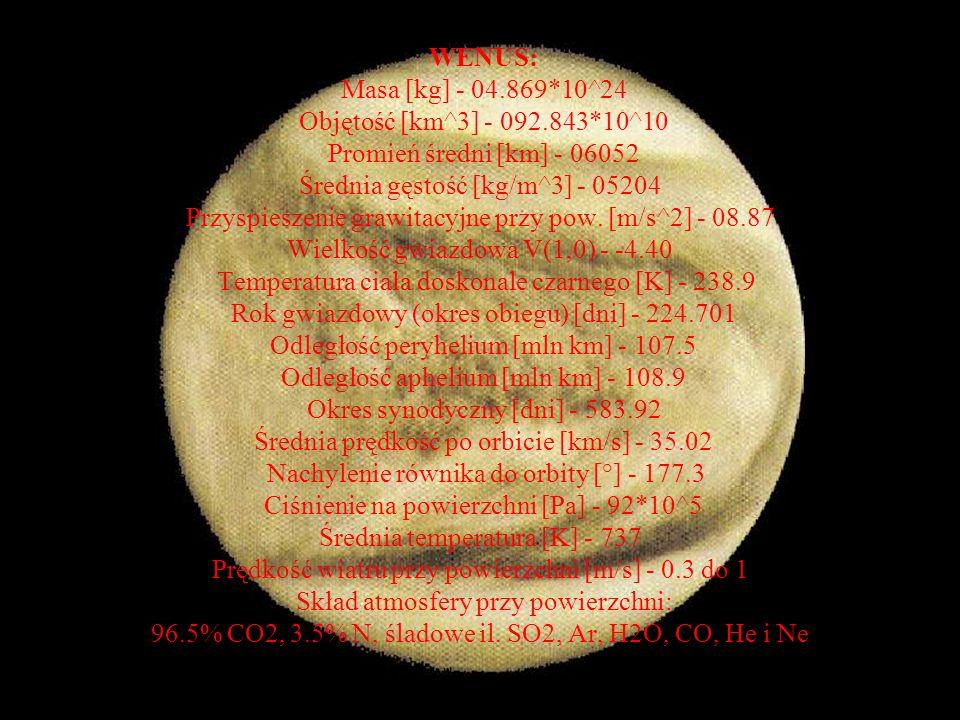 WENUS: Masa [kg] - 04. 869. 10^24 Objętość [km^3] - 092. 843